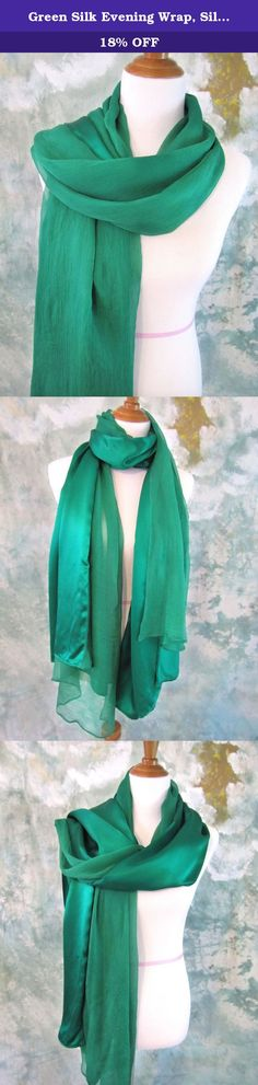 """Green Silk Evening Wrap, Silk Shawl, Kelly Green Scarf, Evening Shawl, Handmade. Simple, elegant, well cared and well made, give you the red-carpt moment. Silk Charmeuse has that beautiful """"shiny"""" finish. It is the common idea when we talk about silk. Crepe chiffon silk is soft, light, diaphanous with a nice pebbly texture. This breath-taking silk evening wrap combines silk charmeuse and crepe chiffon together, which makes it versatile in styling. One of kind! ❥ 100% Luxury mulberry silk…"""