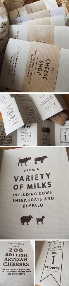 The Cheese Shop. by Charlotte Estelle Littlehales, via Behance. Use of papers, simple design.