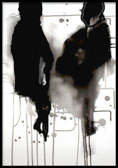 Tavla med abstrakt konst, konsttryck. Vacker poster med akvarellmålning i svartvitt.