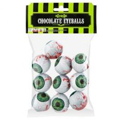 Individually wrapped chocolate eyeballs.
