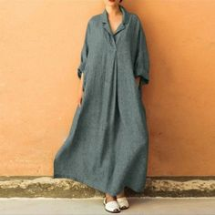 60d73e9a US $7.12 15% OFF|Bohemian Women dress Autumn winter dress Plus Size Long  Sleeve V Neck Cotton and Linen Maxi Dress Ankle Length casual dress UK-in  Dresses ...