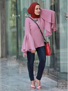 Ruffle blush blouse-Hijab outfits for petite girls – Just Trendy Girls