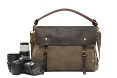 Coffee Camera Bag Leisure SLR Camera Bag Leather Canvas DSLR Camera Bag 33683