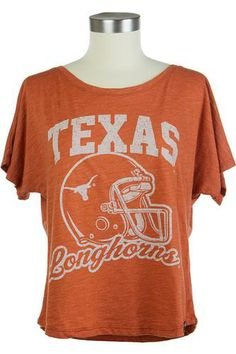 Ladies Texas Orange Helmet Dolman T- Shirt