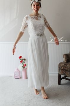 Exquisite1970's Paris Inspired Ivory White Vintage-Style Wedding Dress with Short-Sleeved Embroidered Lace Bolero by LAmei on Etsy https://www.etsy.com/listing/153410863/exquisite1970s-paris-inspired-ivory