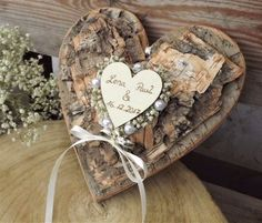 Ring pillow ring holder heart made of bark and gypsophila for wedding with names Ring pillow ring holder heart made of bark and gypsophila for wedding with names Wedding Rings Simple, Wedding Rings Vintage, Rustic Wedding, Ring Pillows, Name Rings, Cushion Ring, Gypsophila, Pillow Box, Perfect Wedding