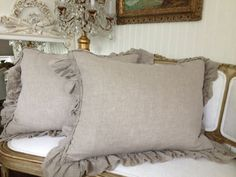 CLEARANCE SALE Pair of standard shams in flax by FullBloomCottage, $119.00