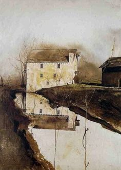 Flour Mill (Chadds Ford Andrew Wyeth, x 19 inches, Watercolor Andrew Wyeth Paintings, Andrew Wyeth Art, Jamie Wyeth, Johannes Itten, Watercolor Trees, Watercolor Barns, Watercolor Architecture, Watercolor Paintings, American Artists