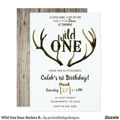 Boys First Birthday Party Ideas, Wild One Birthday Party, 1st Boy Birthday, Boy Birthday Parties, Happy Birthday, Wild One Birthday Invitations, Twins 1st Birthdays, Deer Antlers, Wild Ones