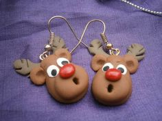 Christmas Novelty Fimo Earrings RUDOLPH (Light Brown) 1 £2.89