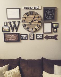 Gallery wall with handmade pallet clock More