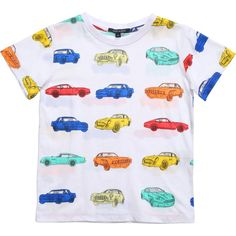 Boys White Multi Car Print T-Shirt, Aston Martin, Boy