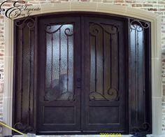 Custom wrought iron door with attached sidelights. Wrought Iron Doors, Iron Work, New Builds, Double Doors, Building, Furniture, Home Decor, Little Cottages, Artists