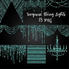 Turquoise glitter string of lights lights clipart fairy image 0
