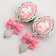 (Cute if they were normal earrings and not plugs, I would buy them in a heartbeat.)  Bunny Cameo Dangle Plugs 1 inch 25mm