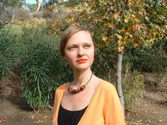 Polished red tagua nuts necklace and leather choker by Allie Thornton #OrganicJewelrybyAllie #Choker