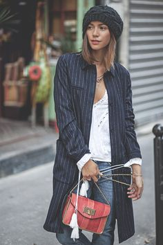 jeans and a long jacket
