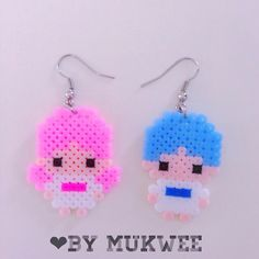 Little Twin Stars earrings perler beads by bymukwee