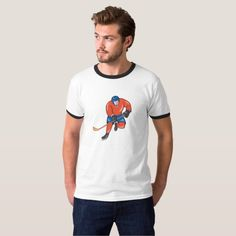 Ice Hockey Player With Stick Cartoon Tee Shirt. Illustration of an ice hockey player with hockey stick in action playing set on isolated white background done in cartoon style. #icehockey #olympics #sports #summergames #rio2016 #olympics2016