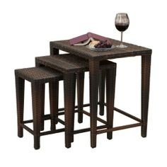 "Mayall Multibrown Wicker Nested Tables (Set of 3) . $144.99. Weather resistant and UV protected; Multibrown PE wicker; Nested table design allows for compact storage when not in use; Small Table:18"" L x 11.25"" W x 11.25"" H - Medium Table: 20.25"" L x 17.25"" W x 14.5"" H - Large Table: 23.5"" L x 17.5"" W x 23.5"" H""; 30lbs (total). Add versatile tables to your outdoor decor with our Mayall Multibrown Wicker Nested Tables. Each of these three different nested tables are weather resis..."