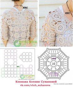 Crochet Shawl Free, Granny Square Crochet Pattern, Crochet Jacket, Crochet Diagram, Crochet Stitches Patterns, Crochet Chart, Crochet Cardigan, Crochet Motif, Crochet Top