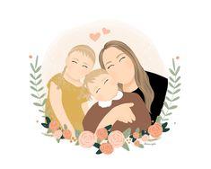 Family Portrait Drawing, Family Drawing, Family Portraits, Portrait Ideas, Portrait Art, Birth Gifts For Mom, Flower Garden Drawing, Digital Portrait, Portrait Illustration