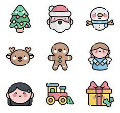 Cute Small Drawings, Mini Drawings, Cute Cartoon Drawings, Kawaii Drawings, Christmas Icons, Christmas Stickers, Doodle Art Designs, Doodle Icon, Cute Doodles