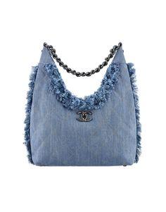 Denim hobo bag embellished with... - CHANEL