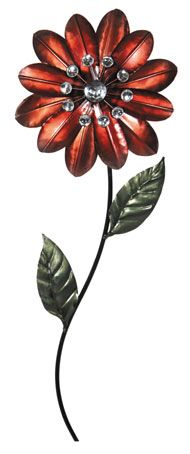 CONTEMPORARY 'RED FLOWER DISPLAY' METAL WALL ART