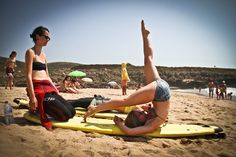 Yoga on the beach Camps, Surfing, Yoga, Beach, Sports, Hs Sports, Seaside, Sport, Surf