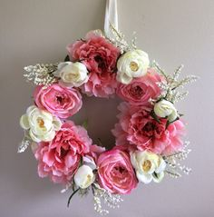 Pink Peony 'n Roses Wreath / Pink Wreath / Peony by SouleHomeDecor