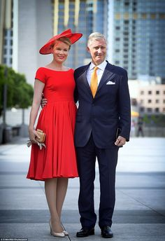 Well-dressed pair: Queen Mathilde and King Philippe pose for a picture by the Bund in Shanghai during the Belgian royal visit to China, 26 June 2015