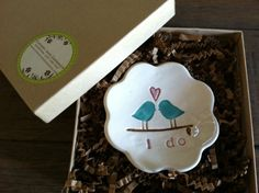 Ring Bearer Bowl The Original Love Bird with by ChrissyAnnCeramics, $18.00