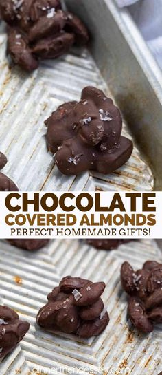 Chocolate Covered Almonds are sweet and salty, made with almonds coated in melte. Chocolate Covered Almonds are sweet and salty, made with almonds coated in melted chocolate and topped with flaky sea salt, ready in no time at all! Dark Chocolate Recipes, Coconut Hot Chocolate, Chocolate Covered Almonds, Melting Chocolate Chips, Melted Chocolate, Chocolate Cake, Candy Recipes, Sweet Recipes, Dessert Recipes