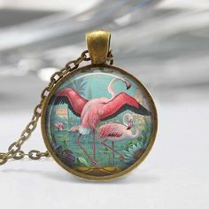 Pink Flamingo Pendant Necklace    Listing is for a Antique Brass pendant and chain.    Pendant measures 25mm (1inch) excluding bail in diameter.