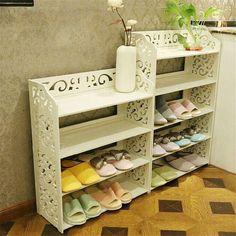 1 Unids Blanco Talla De Madera Estante De Almacenamiento Organizador Casa 3/4/5 Nivel De Zapatos Zapatos de Rack Titular