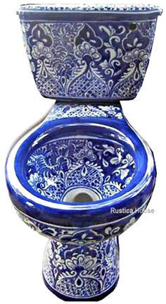 Classic colonial mexican toilet handcrafted with blue design over white background. #mexicantoilets #myrustica #mexciantalavera
