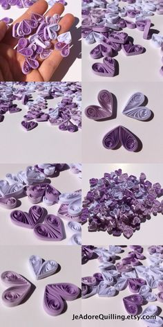 Hearts Purple White Lavender Table Confetti Dinner Ornaments Baby Bridal Shower Party Decorations Gift Fillers Party Confetti Paper Quilling