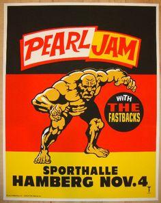 1996 Pearl Jam - Hamburg Silkscreen Concert Poster by Ames