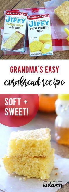 Sweet Cornbread Recipe Using Jiffy, Jiffy Mix Recipes, Jiffy Cornbread Recipes, Cornbread Cake Mix Recipe, Sweet Corn Bread Jiffy, Best Cornbread Mix, Yummy Recipes, Recipes Using Cake Mix, Pastries