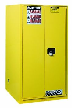 """Justrite Sure-Grip EX 896080 Safety Cabinet for Flammable Liquids, B-Fold, Self Close, 60 gallon, 65""""Height, 34""""Width, 34""""Depth, Steel, Yellow by Justrite. $1576.45. Sure-Grip EX includes New Exclusive Features to make a workplace Extra safe, Extra Secure. U-Loc Padlockable Handle, Haz-Alert Reflective Labeling, SpillSlope Safety Shelves. Safety Can Storage; Factory Mutual (FM) Approved; Meets NFPA, OSHA, and Uniform Fire Code requirements; 1 Adjustable Shelves; Two Manual Door..."""