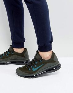 Shop Nike Air Max More Trainers In Green at ASOS. Nike Trainers, Sneakers Nike, Nike Sb, Nike Air Max, Nike Swoosh Logo, Best Brand, Lacoste, Reebok, Adidas Originals