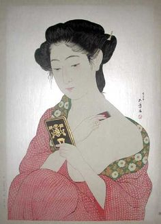 Woman Applying Make-up beautiful print with mica background and gold metallic pigment highlights , by Goyo Hashiguchi, 1920