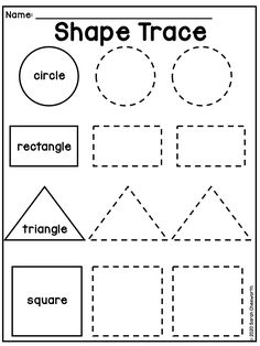 A worksheet focused on shapes and tracing for preschool children. Shape Worksheets For Preschool, Shape Tracing Worksheets, Shapes Worksheet Kindergarten, Tracing Shapes, Preschool Printables, Kindergarten Learning, Worksheets For Preschoolers, Teaching, Preschool Prep