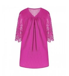 V Neck Embroidered Plus Size Tunic Top - Rose Madder - 3531719412