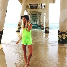 Neon romper Summer Outfits, Cute Outfits, Boho Hat, Playsuits, Jumpsuits, Other Woman, Passion For Fashion, Cover Up, Spring Summer
