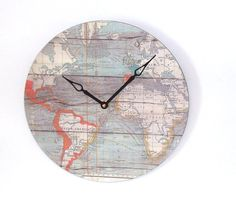 Hey, I found this really awesome Etsy listing at https://www.etsy.com/listing/181950773/world-wall-clock-globe-wall-clock-map