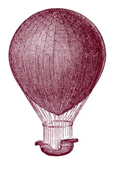 Click on Images to Enlarge This is from an 1870's French Technology Book. It's a fun Hot Air Balloon! I made a few different versions for you, in case you would prefer it in Color. Great for your Steampunk Projects!