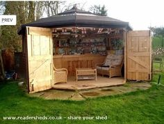 The perfect idea for those that dont want to show off your bar all the time or live in an area with a few more rainy days. pub shed...really?! how awesome