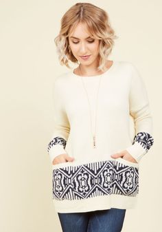 Log Cabin Living Sweater. Indulging in a cozy chateau with the company of your amour and this ivory sweater - ahh, can life get any sweeter? #white #modcloth